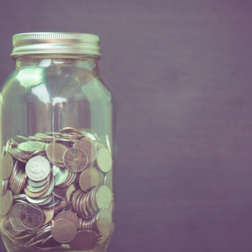Money in glass filter