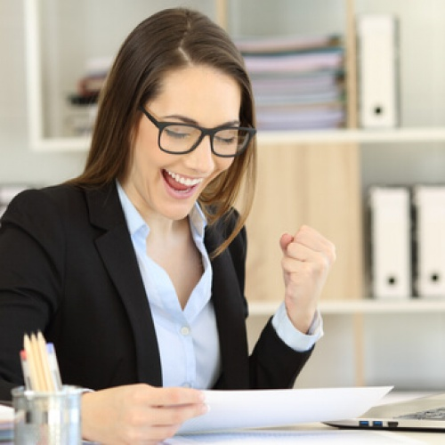 Businesswoman excited about her grant