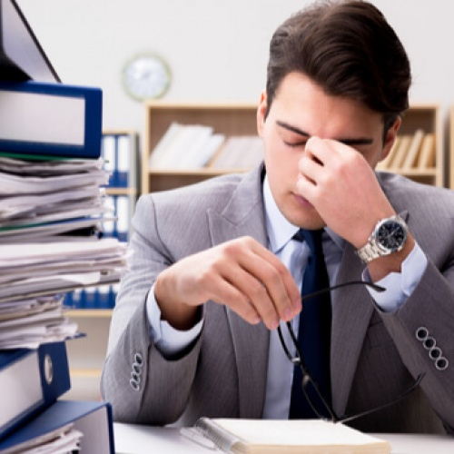 Worried businessman under pressure
